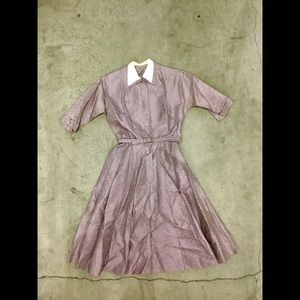 Vintage 1940's dress with belt, diamond buttons, S
